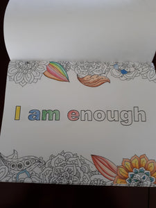 Colouring book with affirmations, I am enough, mindset, coloring, journal, gift for her