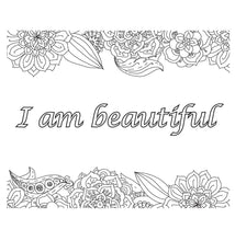 Load image into Gallery viewer, Colouring book with affirmations, I am enough, mindset, coloring, journal, gift for her