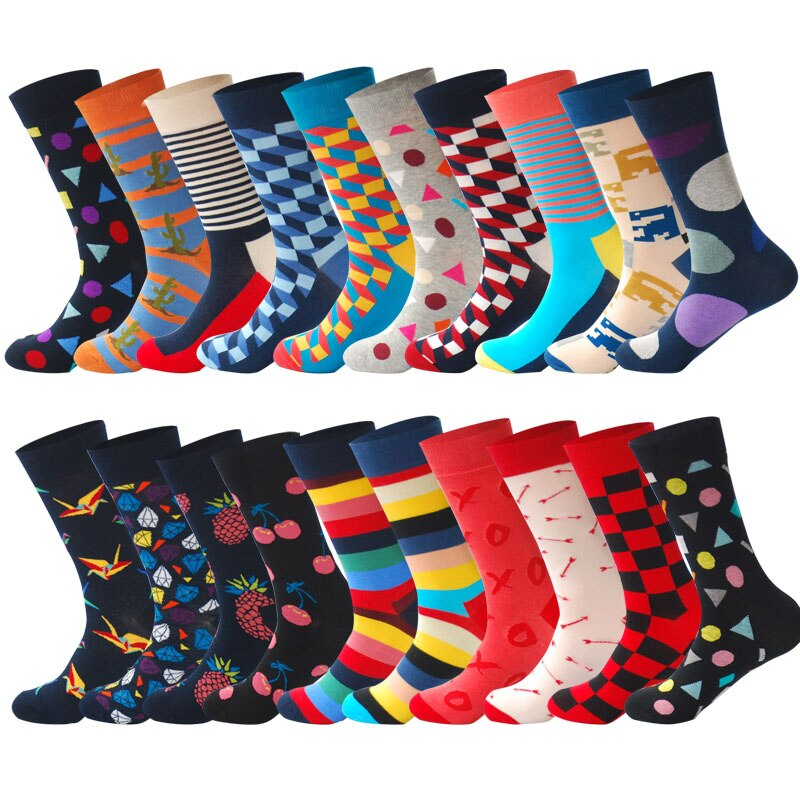 Men Multicolored Pattern Fashionable Fun Crew Cotton Socks Chanwazibibiliu Pattern of The Fire Engines Mens Colorful Dress Socks Funky