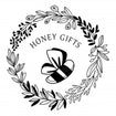 Honey Gifts Logo - bee and a circular floral wreath around it