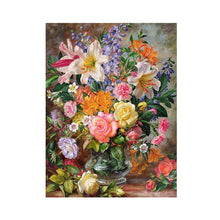 Load image into Gallery viewer, Colorful Flowers Bouquet | Painting by Numbers | Kit with Paint, Brushes, Canvas and Wooden Frame