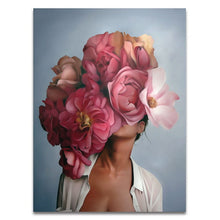 Load image into Gallery viewer, Painting by Numbers Kit: Beautiful girl portrait with large flower with paint, brushes, canvas and wooden frame included. Creative Hobby