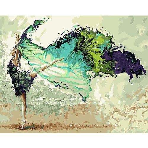 Green Veil Ballerina | Painting by Numbers | Kit with Paint, Brushes, Canvas and Wooden Frame