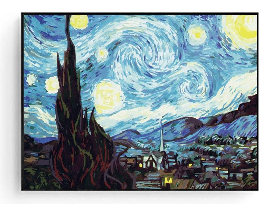 Beautiful Starry Night Oil Painting For Adults | DIY Acrylic Painting By Numbers