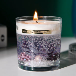 'Life Underwater' Scented Gel Candle with preserved flowers inside