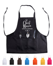 "Load image into Gallery viewer, Personalized ""Pro"" Apron for chefs and leisure cooks - Solid or Glitter text"