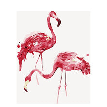 Load image into Gallery viewer, Painting by Numbers: Minimalist Pink Flamingos Picture | Kit with paint, brushes, canvas and wooden frame included | New, Creative Hobby