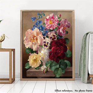 Colorful Flowers Bouquet | Painting by Numbers | Kit with Paint, Brushes, Canvas and Wooden Frame