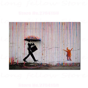 Coloured Rain by Banksy - Professional print on linen canvas