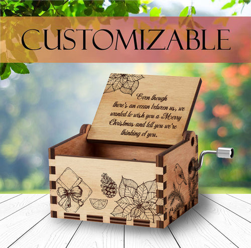 Personalized Wooden Music Box | Christmas Gift | Handcrafted with Gifts Engravings and Customizable for Every Occasion