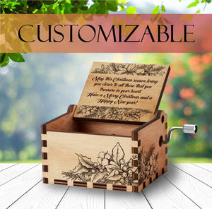 Personalized Wooden Music Box | Christmas Gift | Handcrafted with Floral Engravings and Customizable for Every Occasion