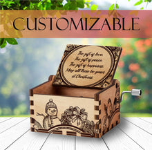 Load image into Gallery viewer, Personalized Wooden Music Box | Christmas Gift | Handcrafted with Santa Engravings and Customizable for Every Occasion
