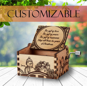 Personalized Wooden Music Box | Christmas Gift | Handcrafted with Santa Engravings and Customizable for Every Occasion
