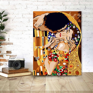 Painting by Numbers: The Kiss by Gustav Klimt | Kit with Paint, Brushes, Canvas and Wooden Frame