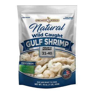 Premier Gold All Natural Wild Caught Gulf Shrimp 31/40 Peeled & Deveined