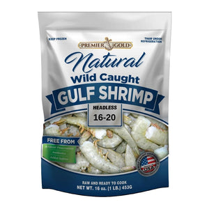 Premier Gold All Natural Wild Caught Gulf Shrimp 16/20 Shell-On