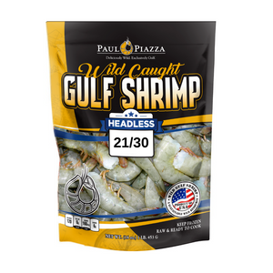 Premium Wild-Caught Gulf Shrimp Shell-On Headless White 21/30