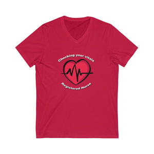 Registered Nurse Vitals Unisex Jersey Short Sleeve V-Neck Tee