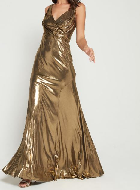 Aidan Mattox Liquid Gold Gown