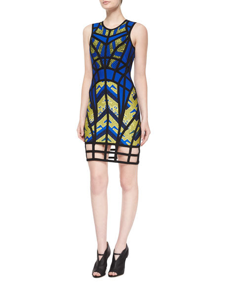 Herve Leger Blue, Yellow and Black Dress Sz 2