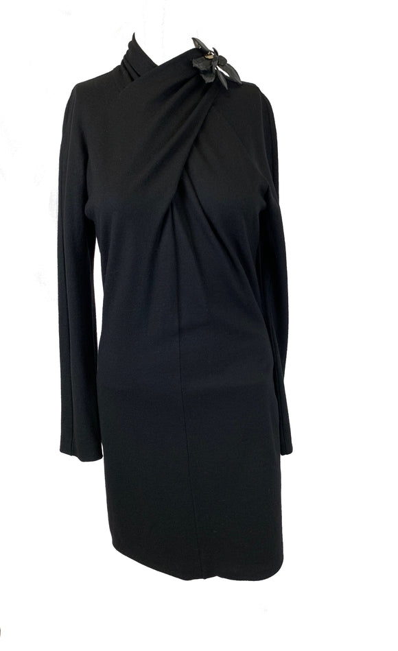 Gucci Black Wool Dress High Neck Size 4-6