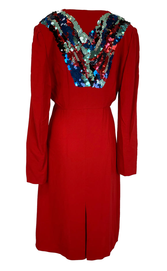 Louis Vuitton Red and Sequin Dress Size 8-10