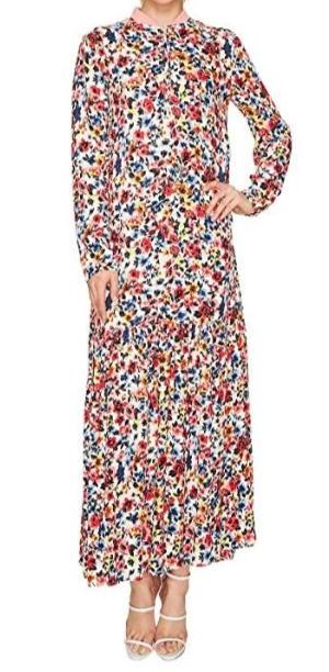 Moschino Floral Long Zip Neck Dress Size 6-8