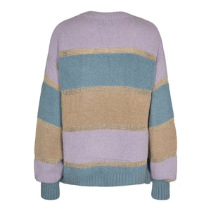 Load image into Gallery viewer, BOBBI LUREX PULLOVER - BLUE PURPLE STRIPE