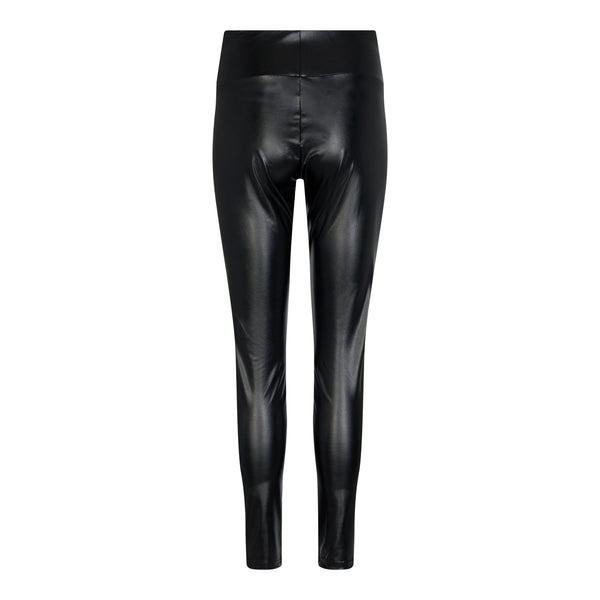 NITA PU FLEECE LEGGINGS - BLACK
