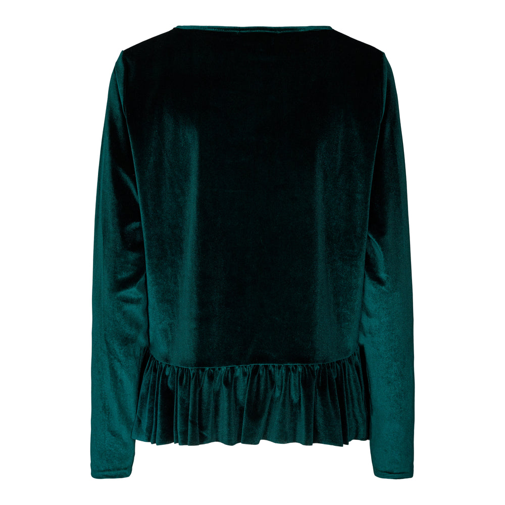 Load image into Gallery viewer, NALMA LS FRILL BLOUSE - DARK GREEN