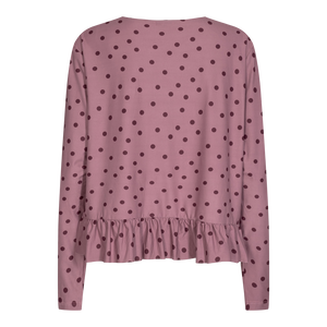 Load image into Gallery viewer, ALMA LS FRILL T-SHIRT - DARK ROSE DOT