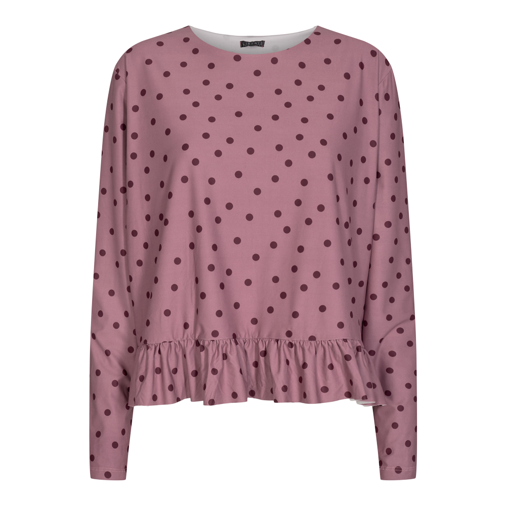 ALMA LS FRILL T-SHIRT - DARK ROSE DOT