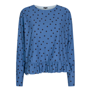 Load image into Gallery viewer, ALMA LS FRILL T-SHIRT - DUSTY BLUE DOT