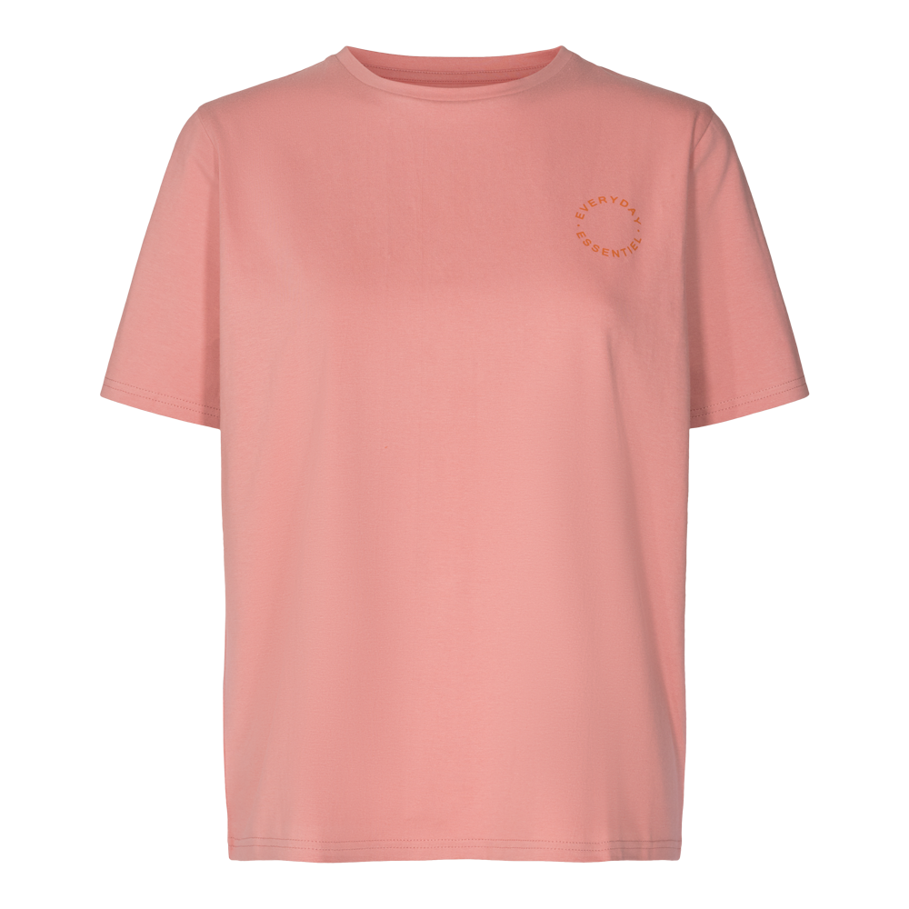 GINGER T-SHIRT ( ROUND LOGO) - ROSE