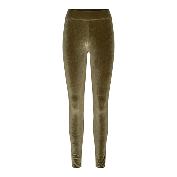 NALMA VELVET LEGGINGS - ARMY
