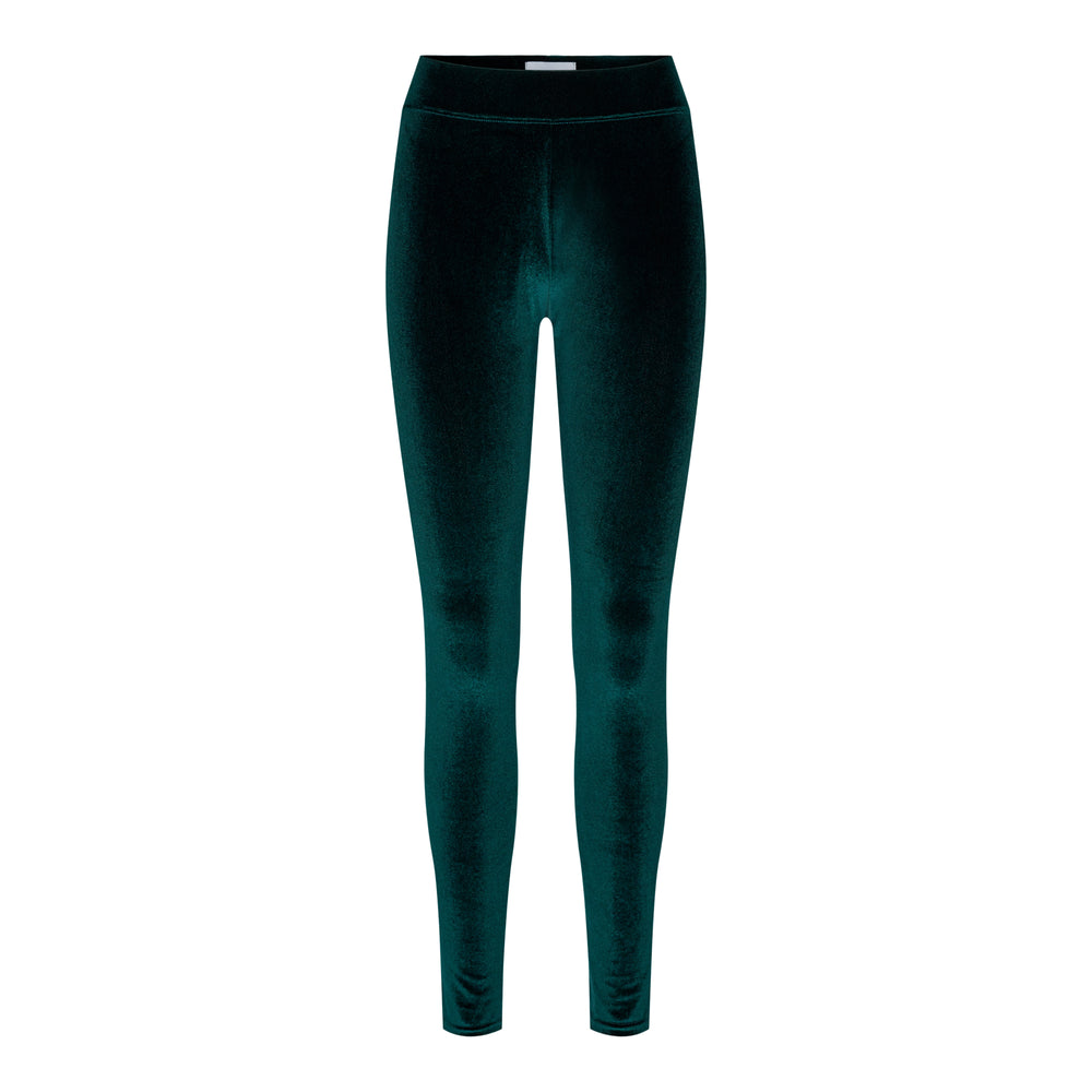 NALMA VELVET LEGGINGS - DARK GREEN