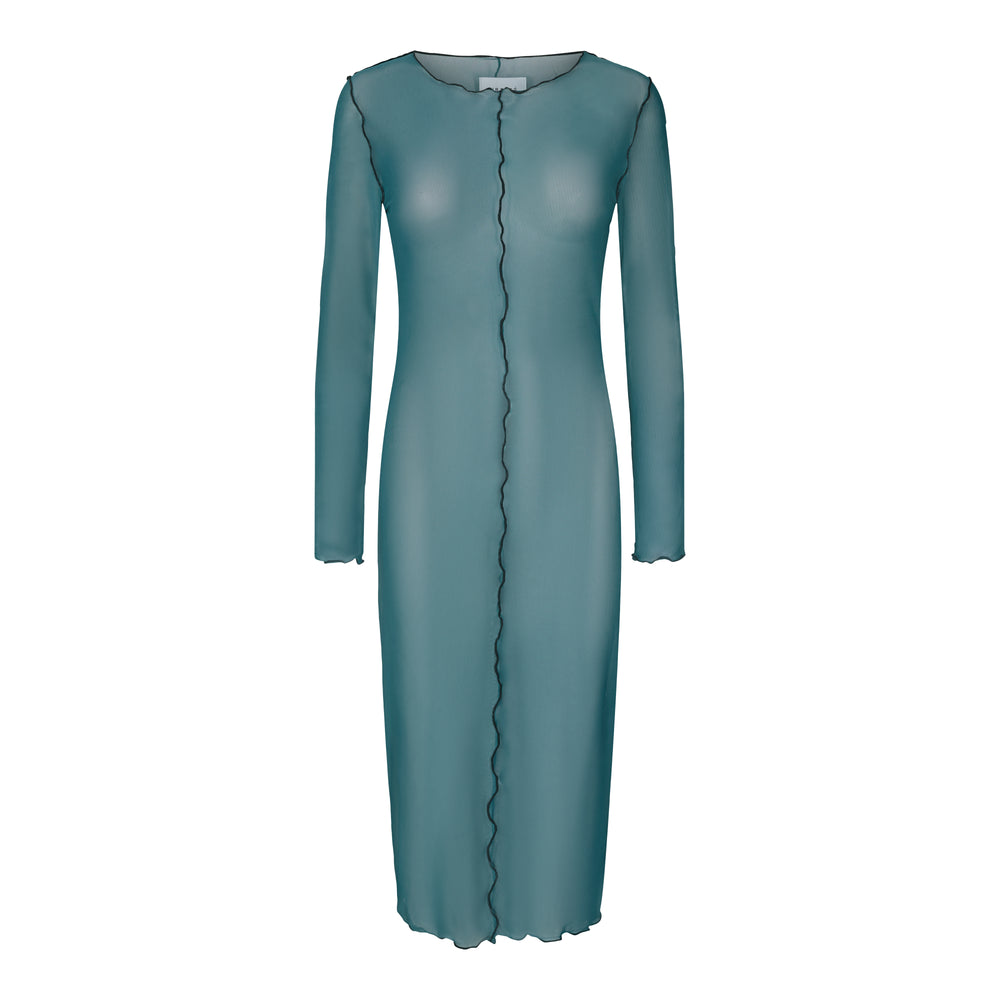 MESH LS DRESS - DARK GREEN