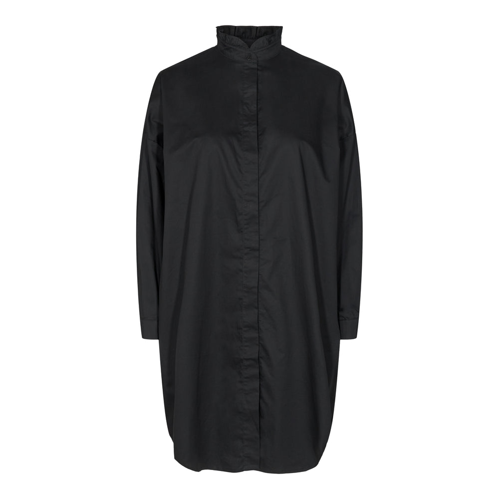 SUSAN LS FRILL COLLAR SHIRT - BLACK