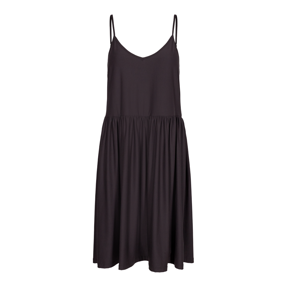 ALMA-FRILL-SLIP-DRESS - BLACK
