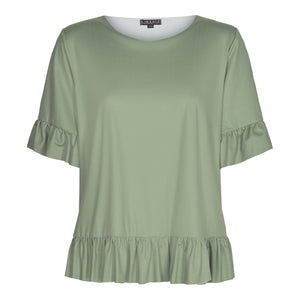 Load image into Gallery viewer, ALMA-FRILL-T-SHIRT - DUSTY ARMY