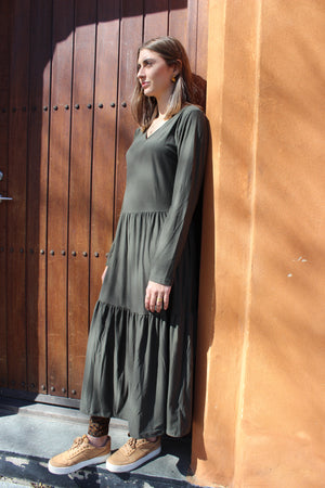 Load image into Gallery viewer, ALMA-LOOSE-DRESS - OLIVE