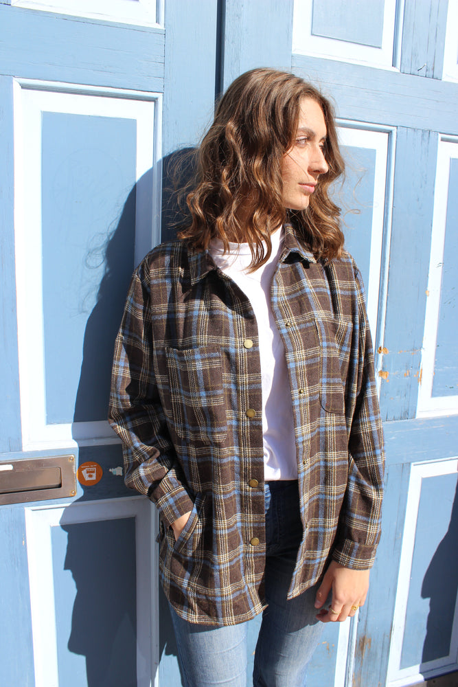 Load image into Gallery viewer, KAREN-SHIRT - NAVY/CHECK