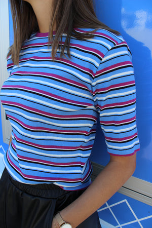 Load image into Gallery viewer, ROBERTA T-SHIRT - BLUE FUCHSIA STRIPE