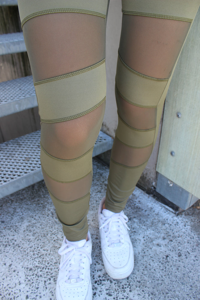 Load image into Gallery viewer, NICOLE-LEGGING - ARMY/MESH