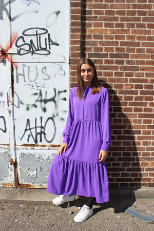 Load image into Gallery viewer, MAGGIE-LS-DRESS - PURPLE