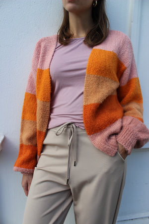 Load image into Gallery viewer, BOBBI CARDIGAN - ROSE ORANGE STRIPE