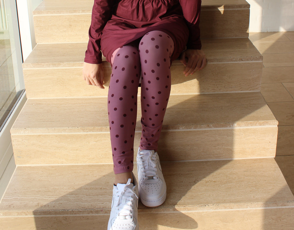 ALMA-LEGGINGS - DARK ROSE DOT