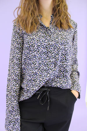 Load image into Gallery viewer, MAGGIE-LS-SHIRT - PURPLE FLOWER