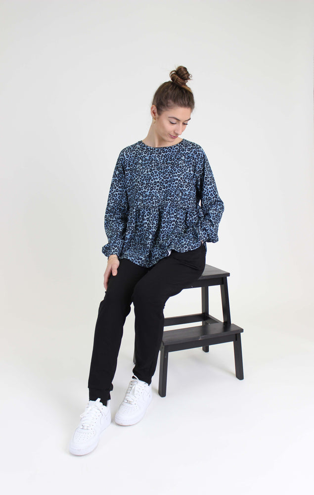 Load image into Gallery viewer, MELISSA FRILL CREWNECK - DUSTY BLUE LEO