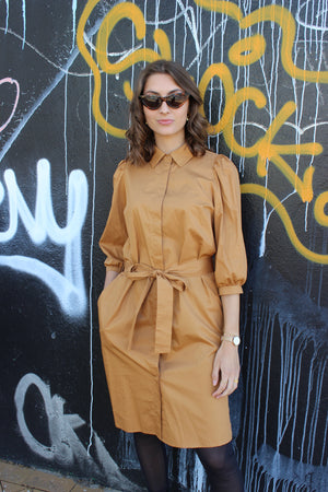 Load image into Gallery viewer, OANNA-SHIRT-DRESS - CARAMEL